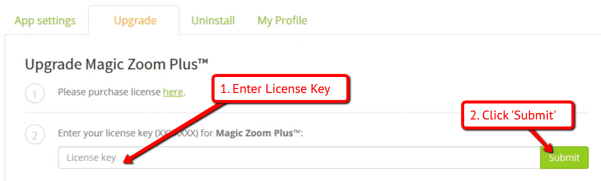 6546c5832e5b ... version of Magic Zoom Plus on your Bigcommerce store. Paste your  License Key in the field provided and click Submit.