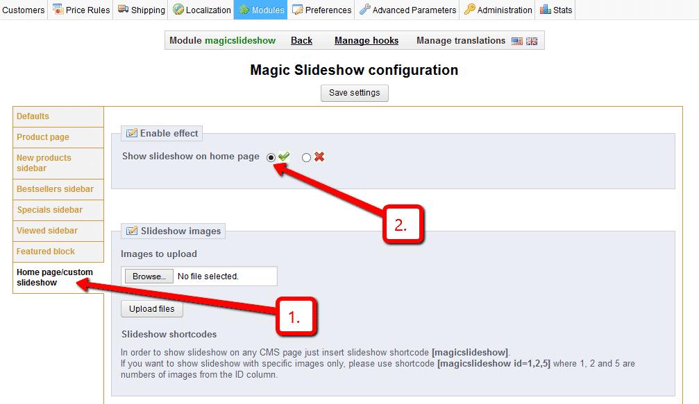 how to change prestashop slider images