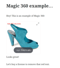 Magic 360 works instantly on your WordPress page or post